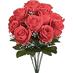 Artificial Silk Roses Flowers Centerpieces Decorations for Valentine's Day Gift Red