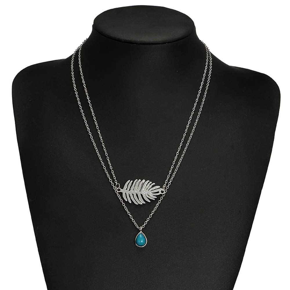 WaiiMak 2019 Hot Women Branch Drop Necklace Multi-Layer Clavicle Chain Feather Sapphire Necklace (A)