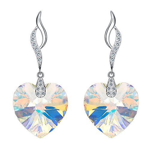 - EleQueen 925 Sterling Silver CZ Love Heart Leaf Ribbon Drop Earrings Iridescent Aurora Borealis AB Made with Swarovski Crystals