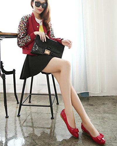 Minetom Damen Elegante Schuhe Bequeme Omelett Schuhe Mit Bowknot Flache Ferse Geschlossene Ballerinas Schuhe Rot