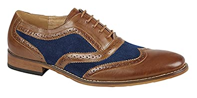 0b82665485b Goor Gatsby Mens designer Brogue Tan Brown with Blue insert Mens Shoes Size  7