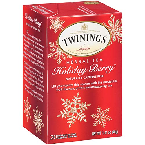 Twinings of London Herbal Holiday Tea – 1 Box, 20 Count Organic | Blend of Rosehip, Hibiscus, Orange and Blackberry Leaves, Apple Pieces, Liquorice Root, and Berry Fruit | Irresistible Flavor