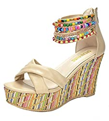 Dream Pairs Bling Women S Wedge Sandals Pearls Across The Top Platform High Heels Beige Size 5 5