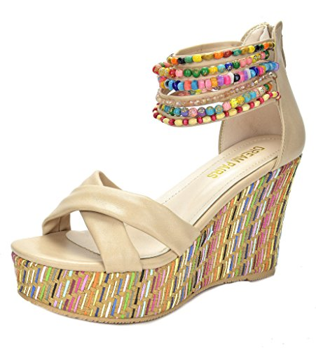 Top Across - DREAM PAIRS Bling Women's Wedge Sandals Pearls Across The Top Platform High Heels Beige Size 9.5