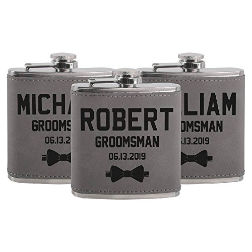 Set of 3 - Personalized Groomsmen Flasks, Groomsmen Gifts | 6oz Leatherette Personalized Flask for Liquor w Optional Gift Box - Personalized Groomsman Proposal Gifts | Wedding Favor #2 (Engraved Textured Stainless Steel Flask)