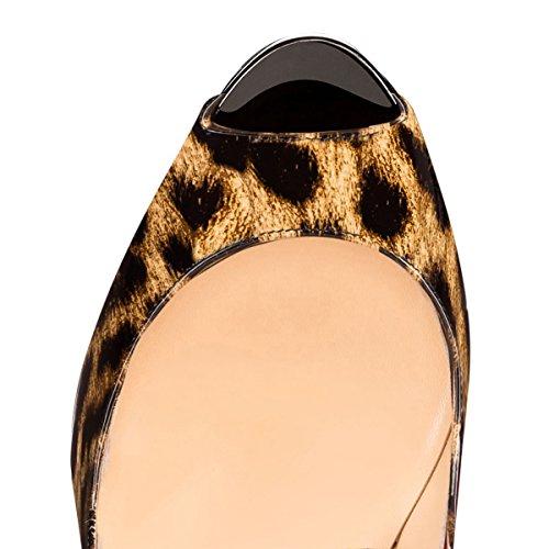 Alto Spillo Sexy Slingback Tacco Umexi Donne Plateau Slip Pompe A Multicolore Leopardo su 4RnqxBz