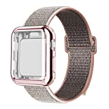 QIENGO Compatible with Apple Watch Band with Case 38MM, Soft Nylon Strap with Silicone Screen Protector Replacement for iWatch Sport Series 3/2 / 1 (Pinksand, 38mm)