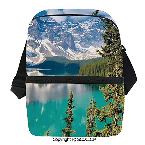 SCOCICI Collapsible Cooler Bag Moraine Lake Mountains Canada Summer Forest Tall Fresh Trees Image Insulated Soft Lunch Leakproof Cooler Bag for Camping,Picnic,BBQ