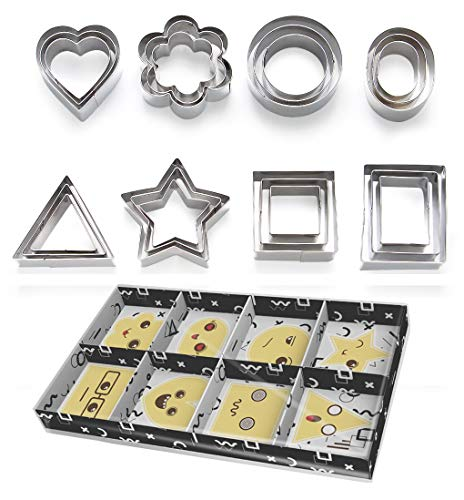 ShengHai Cookie Cutters Set -24 Pieces Medium Size Biscuit Cutters -3 Hearts Shape, 3 Stars Shape, 3 Flowers Shape and 15 Geometric Shape, Stainless Steel Pastry Cutters