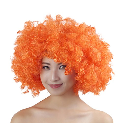 Multifit Unisex Adult 60's and 75's Funky Afro Wig for Halloween Costume Theme Party Disco(Orange) -