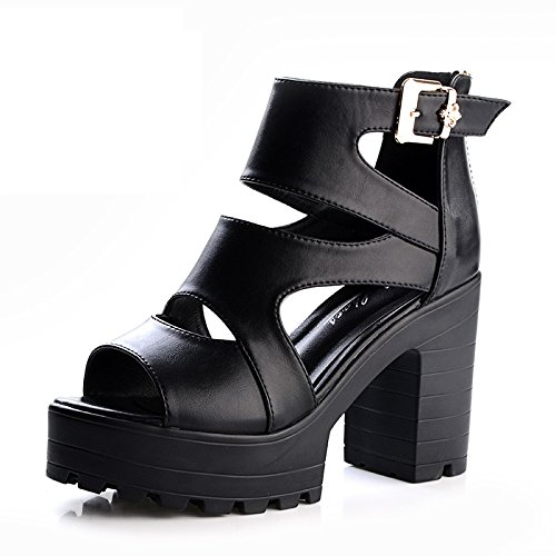 Jqdyl High Heels Sommer Sandalen Weibliche Schuhe mit Hohen Absauml;tzen mit Dicken Sohlen Dicke Wasserdichte Schnalle Wilde Frauen Schuhe  35|black