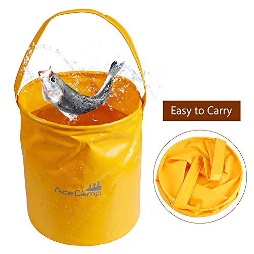 Acecamp Multifunctional Collapsible Bucket Folding Basin Camping Dish Washing Water Fishing Bucket for Camping Hiking Travelling Fishing Washing
