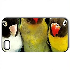 Beautiful Parrots - Case Cover for iPhone 4 and 4s (Birds Series, Watercolor style, Black)