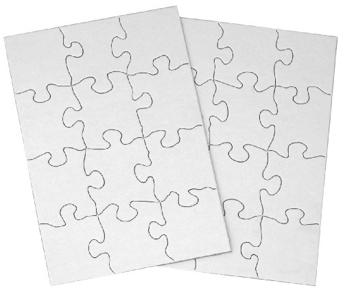Inovart Puzzle-It 12-Piece Blank Puzzle, 24 Puzzles Per Package, 5-1/2'' x 8'', White by INOVART