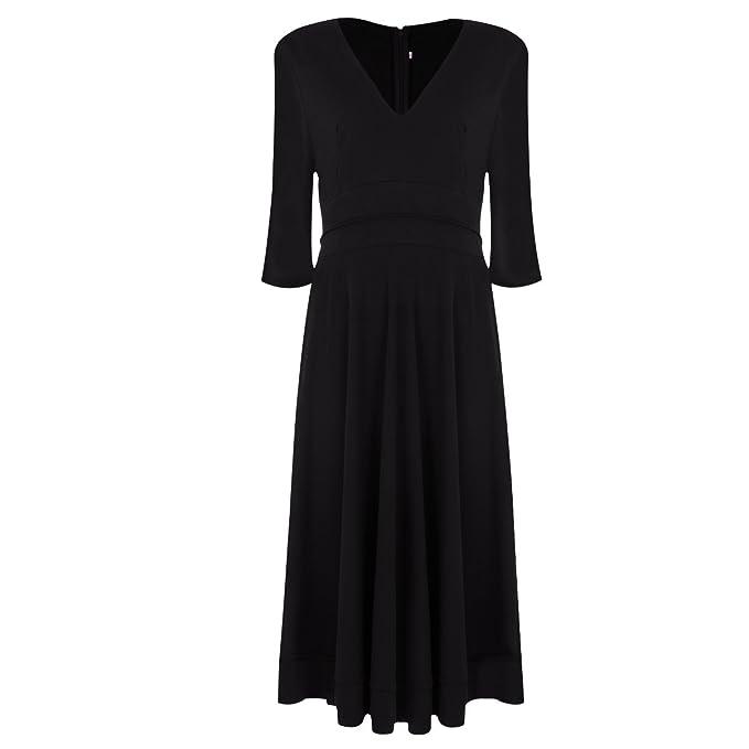 226959063a Women Elegant Deep V Neck Half Sleeve Long Evening Cocktail Formal Dress  Ruched Waist Tunic Swing