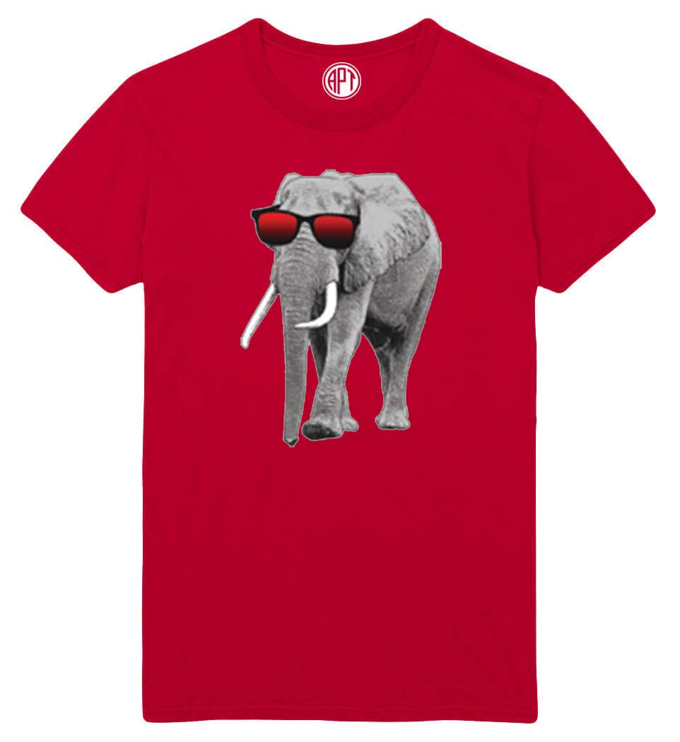 Elephant with Sunglasses Printed T-Shirt - Red - 5XLT