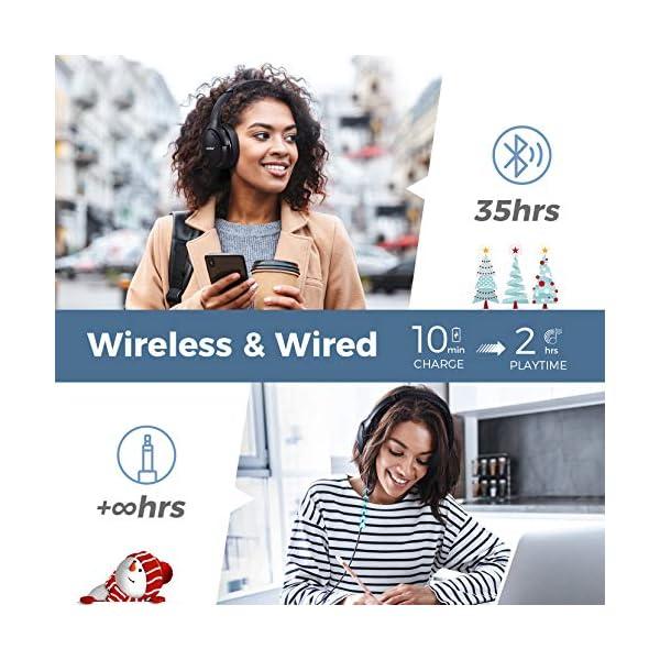 Casque Bluetooth à Réduction de Bruit san Fil, Mpow H19 IPO Casque Bluetooth Audio sans Fil avec CVC 8.0 Micro, 35H…