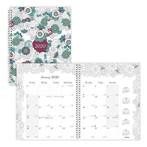 Blueline 2020 DoodlePlan Coloring Monthly Planner, 18- Month (July 2019 - December 2020), Botanica Designs, 11 x 8.5 inches (C2921.01-20) (Rediform Monthly Planner)