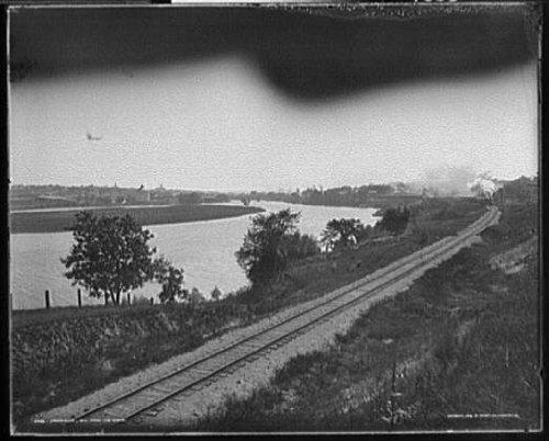 HistoricalFindings Photo: Janesville,railroad tracks,rivers,Wisconsin,WI,Detroit Publishing Company,c1898
