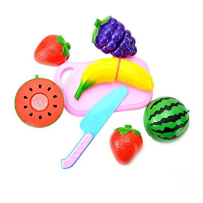 Timetries Children Cut Fruit Kitchen Toys Food Set Plastic Color Kids Pretend Role Play: Toys & Games