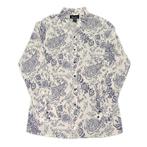 DENIM & CO. Womens Paisley Printed Button Down Shirt 240526RM (Medium, Blue)