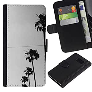 Paccase / Billetera de Cuero Caso del tirón Titular de la tarjeta Carcasa Funda para - Trees Row Sky View Street Road - Samsung Galaxy S6 SM-G920