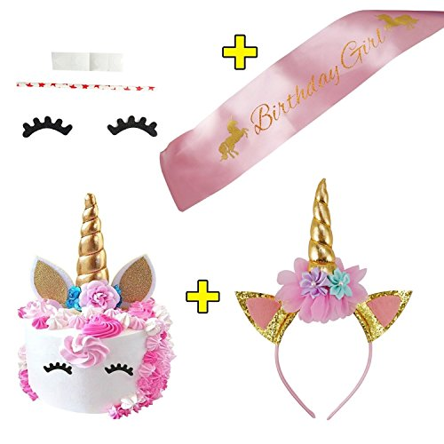 Unicorn Cake Topper with Eyelashes, Unicorn Headband and Unicorn Satin Sash Unicorn Party Supplies by Purrfi