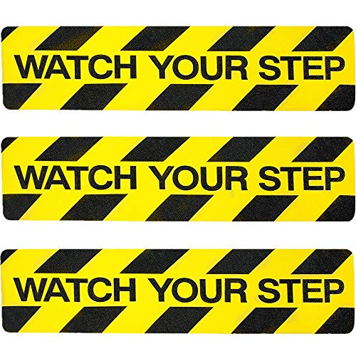 "3Pack Watch Your Step Non-Slip Stair Warning Sticker Adhesive Tape Help Prevent Falls Anti Slip Abrasive Treads for Workplace or Home Safety Wet Floor Caution, 6"" x 24"""