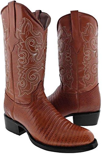 Team West - Men's Cognac Teju Lizard Print Leather Cowboy Boots Round Toe 12 2E US