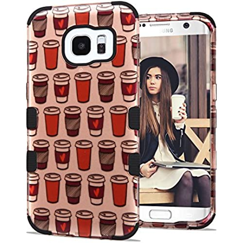 Samsung Galaxy S7 Edge Case, JoJoGoldStar TUFF Designer Hybrid, Slim Fit Plastic and Silicone TPU Cover - Coffee Sales