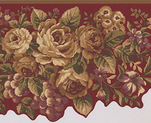 Yellow Violet Flowers Peony Daisies Grapes Wine Red Wallpaper Border Retro Design, Roll 15' x 10
