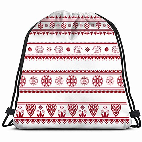 (Set Henna Painting Inspired Seamless Border Illustrations Clip Art Indian Transportation Drawstring Backpack, Bag for Sport Outdoor Travel Beach Hiking)