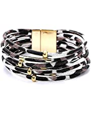 MeterMall Women Fashion Leopard Printing Alloy Magnetic Buckle Leather Bracelet White