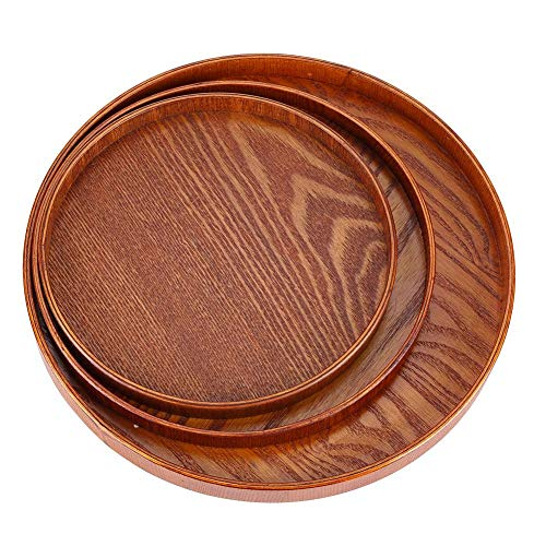 ForShop Round Natural Wood Serving Tray Wooden Plate Tea Food Server Dishes Water Drink Platter Food Bamboo - Lily Round Plate Serving