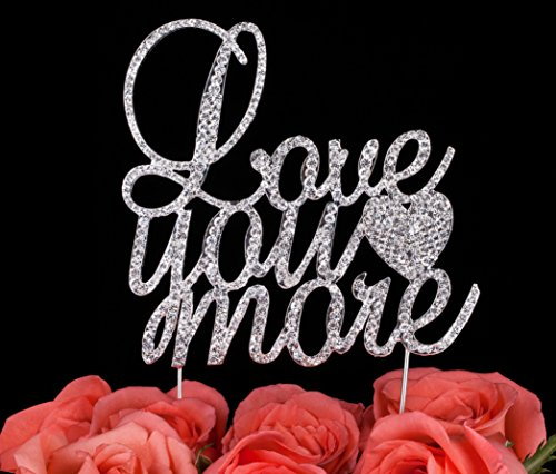 LOVENJOY-with-Gift-Box-I-Love-You-More-Cake-Topper-Rhinestone-Crystal-Wedding-Engagement-Decoration-Silver-45-inch