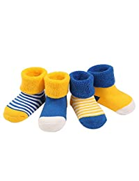FQIAO Soft And Warm Winter Unisex Socks Cute 4 Pack Gift for Baby