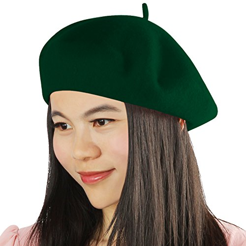 Acecharming Womens French Style Beret Wool Beanie Hat Cap,Hunter Green,Thin (Green Beret Hat)