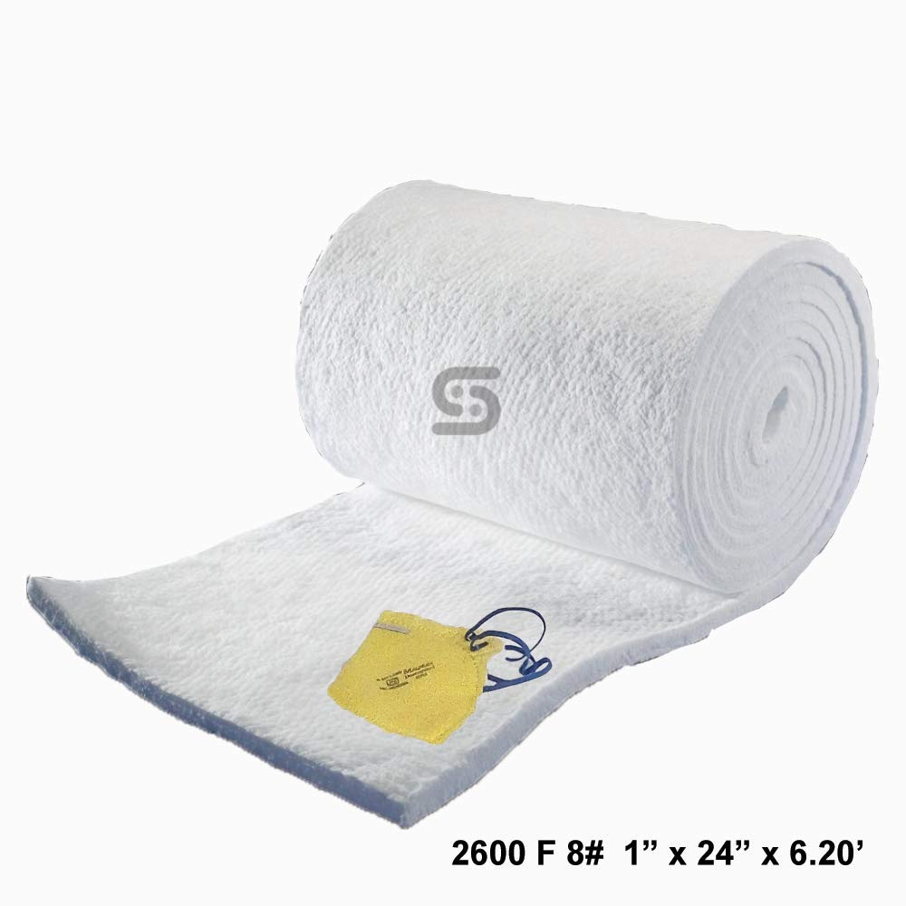 Ceramic Fiber Blanket 8# Density, 2600F (1'' x 24''x 6.20') for Thermal Insulation of Stoves, Fireplaces, Pizza Ovens, Kilns, Forges, Furnaces