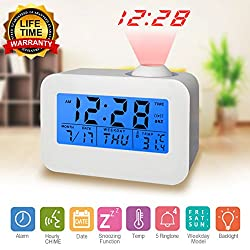 Digital Alarm Clock, Projection Clock Wall Celling Time Projector, Large LED Display, Temperature, Snooze, 4 Alarm Music, Hourly Chime Digital Clock for Travel Home Bedroom Desk Kitchen (white)