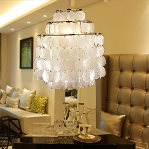Aero Snail Round Chandlier with Round Capiz Seashells Natural White 1-Light Pendant Lamp