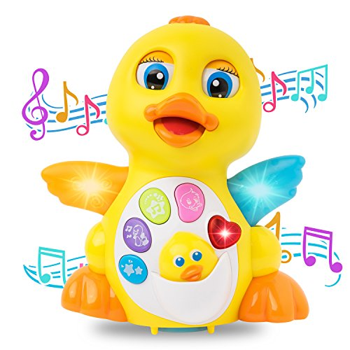 ck Toy, Lights Action With Adjustable Sound , Dancing and Singing Duck Toys for 1 2 3 year girls and boys kids or toddlers (Ducks Heart Watch)