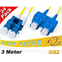 FiberCablesDirect 24Pk 3M OS2 LC SC Single Mode Fiber Patch Cables - 24 Pack | Duplex 9/125 LC to SC Singlemode Jumper Cord 3 Meter (9.84ft) | Pack Options: 2, 4, 6, 10, 12, 24 | smf patch-cord lc-sc