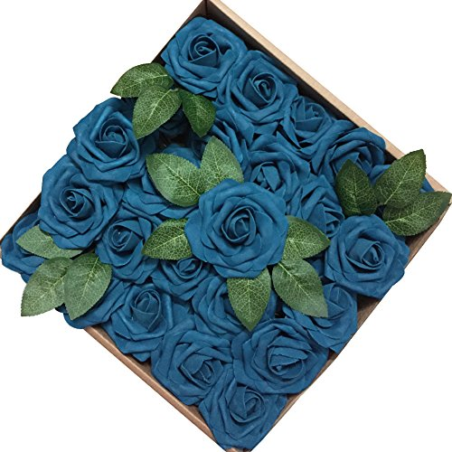 Flower Blue Rose (Jing-Rise 50PCS Fake Roses Real Looking Artificial Flowers For DIY Wedding Bouquets Centerpieces Baby Shower Party Home Office Shop Hotel Supermarket Decorations (Navy Blue))