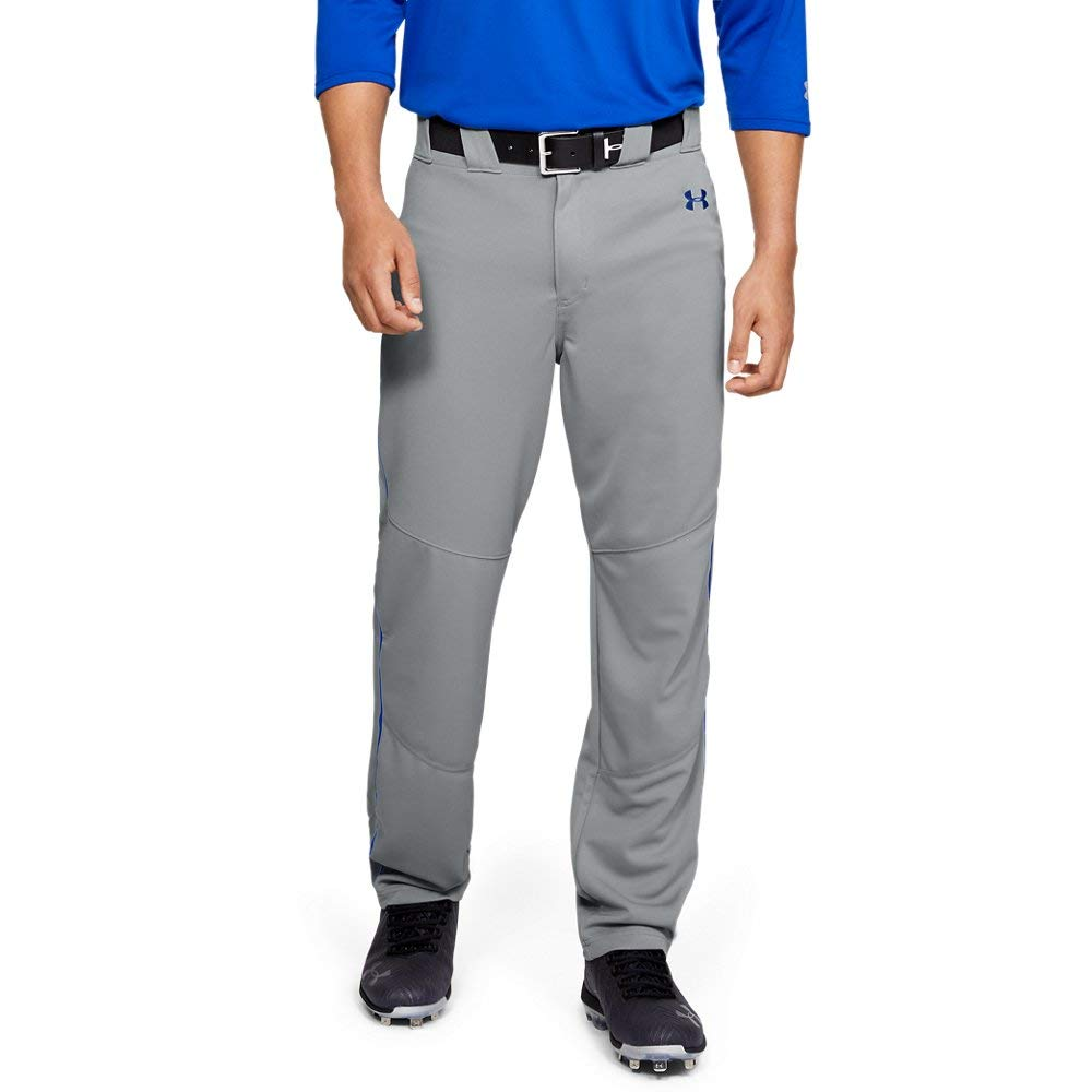 Under Armour Men's Utility Relaxed Piped Baseball Pants, Gray (081)/Royal, XX-Large by Under Armour