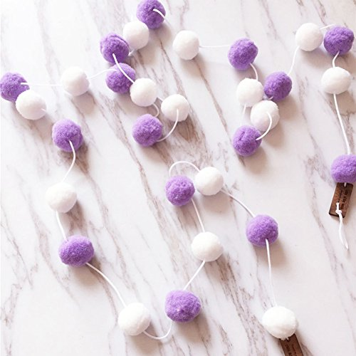 Wool Felt Ball Garlands,2M 30PCS Multicolor Handmade Pom Pom Garland Wall Hanging for Kids Room Nursery Birthday Party Halloween Decoration (White+purple) ()