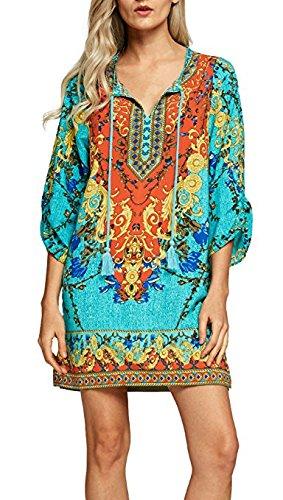 women-bohemian-neck-tie-vintage-printed-ethnic-style-summer-shift-dress-xl-pattern-1