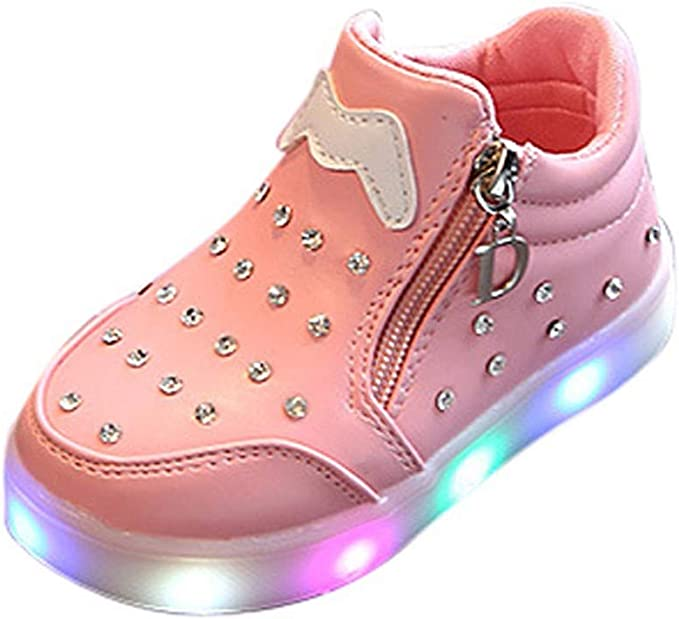 Kids Baby Infant Girls Crystal Bowknot LED Luminous Boots Sport Shoes Sneakers