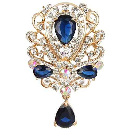 EVER FAITH Austrian Crystal CZ Art Deco Floral Vine Pendant Tear Drop Brooch Sapphire-Color - Floral Brooch Pendant