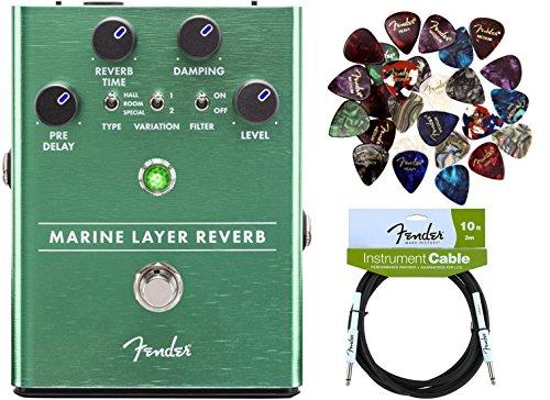 Reverb Pedal Bundle with Fender Instrument Cable and Pick Sampler (Marine Sampler)