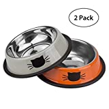 LANXI PET Stainless Steel Bowl Set for Dogs & Cats (Pack of 2), Non-Skid Dish for Puppies & Kitties (S, Orange & Green)
